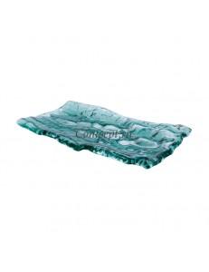 Блюдо прямоугольное  28х15см цвет зеленый  стекло  PORDAMSA серия Mar