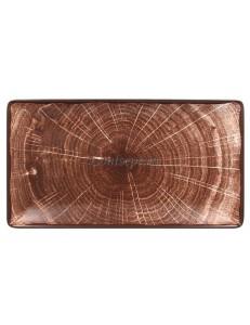 Блюдо прямоугольное 335х180мм коричневое фарфор RAK серия Woodart