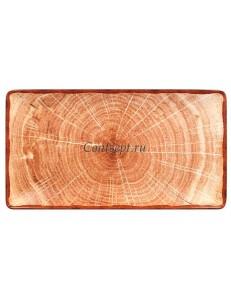 Блюдо прямоугольное 335х180мм красно-коричневое фарфор RAK серия Woodart