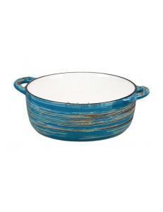 Бульонница с ручками серия Texture Dark Blue lines фарфор PL Proff Cuisine