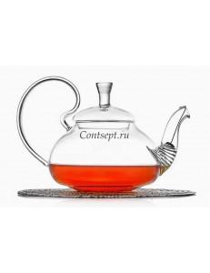 Чайник заварочный 600мл с фильтром в носике Георгин термостекло