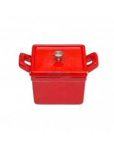 Кастрюля 500мл квадратная эмалированная порционная чугунная красная PL Proff Cuisine