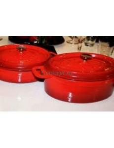 Кастрюля порционная 550мл 17см красная овальная чугун