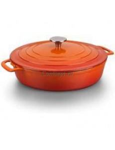 Кастрюля порционная 550мл 17см оранжевая овальная чугун
