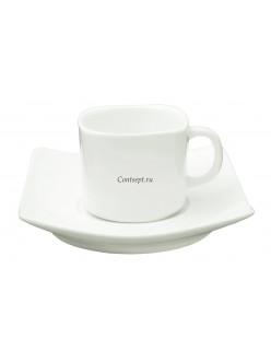 Кофейная пара квадратная 80мл фарфор PL Proff Cuisine