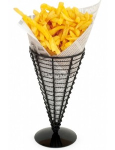 Корзинка конус для картофеля фри 12,8x22,5 см, черная, сталь