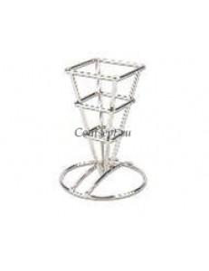 Корзинка конусная для подачи снеков на подставке 6,4х12,7см нержавеющая сталь