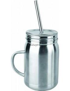 Кружка для коктейлей 650мл с трубочкой