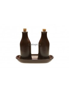 Набор для масла и уксуса  бутылка для масла 200мл бутылка для уксуса 200мл  2 пробки и овальная подставка керамика Kera-Ceramika