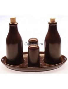 Набор для масла и уксуса 4 предмета  бутылка для масла 200мл бутылка для уксуса 200мл 2 пробки солонка и перечница цилиндрической формы и овальная подставка керамика Kera-Ceramika