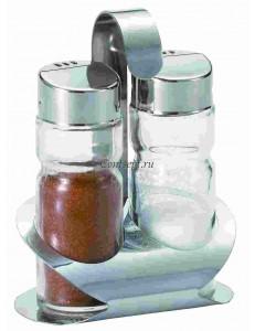 Набор для специй 2 предмета соль/перец на подставке Basil нержавеющая сталь стекло