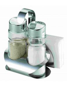 Набор для специй 3 предмета соль/перец/салфетница нержавеющая сталь стекло