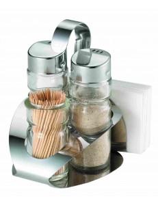 Набор для специй 4 предмета соль/перец /стаканчик для зубочисток/салфетница нержавеющая сталь стекло