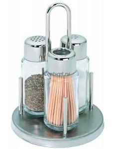 Набор специй 3 предмета на подставке Cinnamon нержавеющая сталь стекло