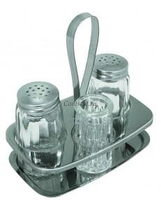 Набор специй 3 предмета соль/перец /стаканчик для зубочисток на подставке нержавеющая сталь