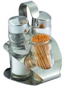 Набор специй 3 предмета соль/перец/стаканчик для зубочисток на подставке Basil  нержавеющая сталь и стекло