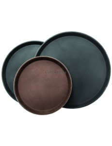 Поднос круглый прорезиненный коричневый 28см