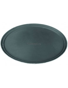 Поднос овальный прорезиненный 68х56см черный пластик