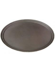 Поднос овальный прорезиненный 68х56см коричневый пластик