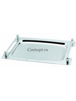 Поднос прямоугольный c ручками 34,5х24см нержавеющая сталь
