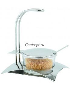 Сахарница стеклянная с металлической крышкой и ложечкой 400мл
