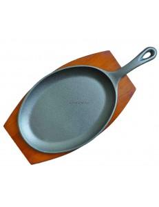 Сковорода овальная с ручкой 26х19см чугун на деревянной подставке