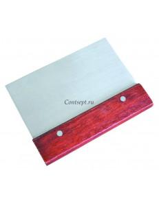 Скребок с деревянной ручкой  15х8см нержавеющая сталь