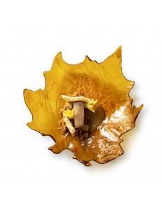 Тарелка Виноградный лист коричневая 17,5х16,5х3,5см стекло PORDAMSA серия Botanique