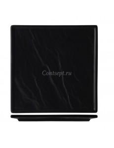 Тарелка квадратная 21х21см черная фарфор PL Proff Cuisine