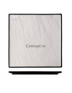 Тарелка квадратная 21х21см с черным основанием фарфор PL Proff Cuisine