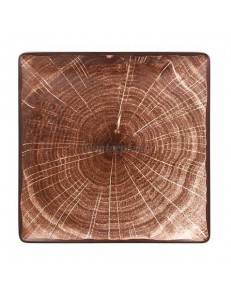 Тарелка квадратная 30х30см коричневая фарфор RAK серия Woodart