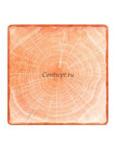 Тарелка квадратная 30х30см оранжевая фарфор RAK серия Woodart