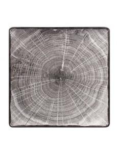 Тарелка квадратная 30х30см серая фарфор RAK серия Woodart