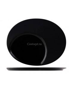 Тарелка овальная 30х24см черная фарфор PL Proff Cuisine