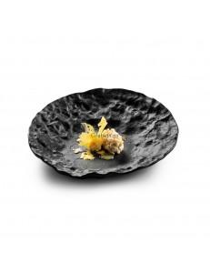 Тарелка скошенная 23см стекло цвет черный  PORDAMSA серия Crater