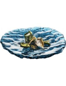 Тарелкая овальная 28х25см синяя стекло PORDAMSA серия Mar