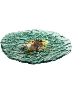 Тарелкая овальная 28х25см зеленая стекло PORDAMSA серия Mar