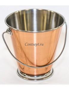 Ведерко сервировочное 12х8х12см нержавеющая сталь с медным покрытием